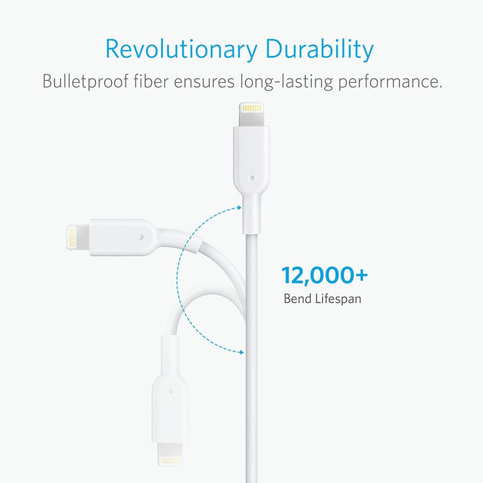 Anker - PowerLine II 2m with Lightning Connector Cable - White