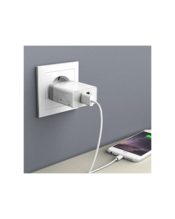 Anker  - PowerPort 2 Wall Charger Fast Charging 24W Output & 3ft Micro Usb Dual Usb - White