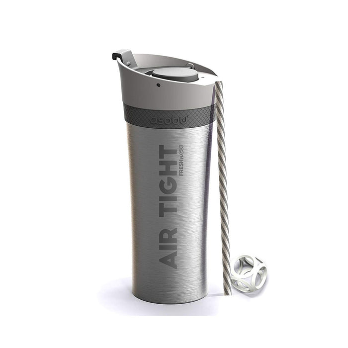Asobu   - Fresh'N'Go Double Wall Bottle with Built-in Pump - SILVER