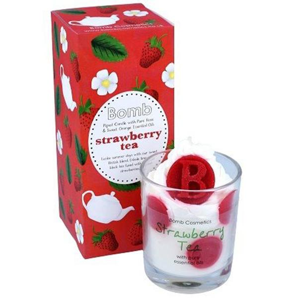 Bomb Cosmetics - Piped Glass Candle Strawberry Tea