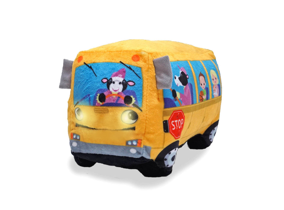 Cuddle Barn - Musical Plush Wheelie School Bus 8""
