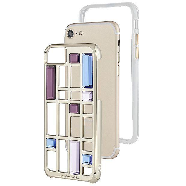 Case-Mate Caged Crystal Case for iPhone 7, Gold (2037387067449)