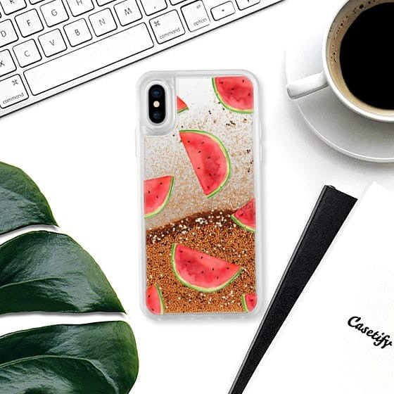 Casetify - iPhone X/XS Glitter Case Watermelon Shuffle - Rose Gold