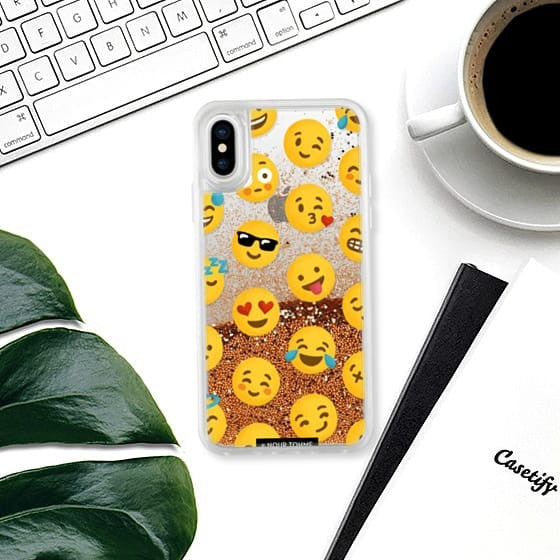 Casetify - iPhone X/XS Glitter Case Emoji Love - Rose Gold
