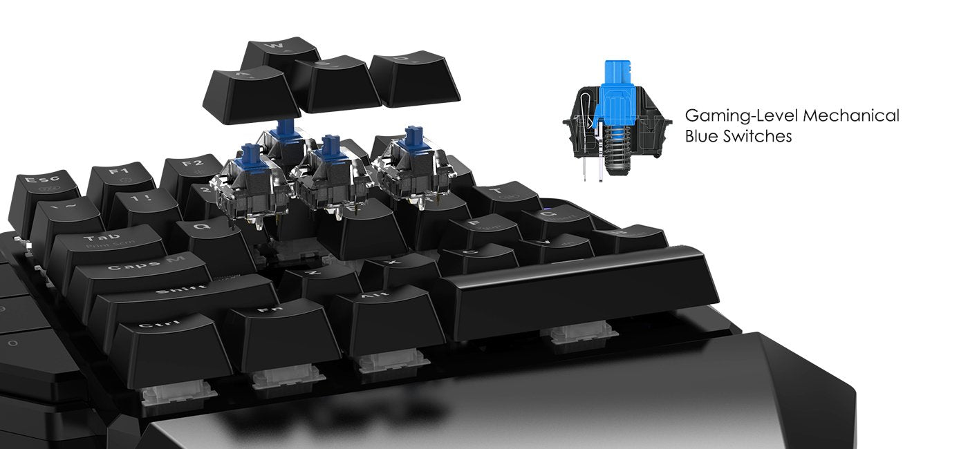 GameSir    - GK100 One Handed Gaming Keyboard Mechanical Mini Game Key Pad USB Wire PC - Black