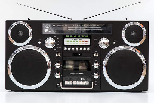 GPO Brooklyn 1980s-Style Boombox - CD, Cassette, FM & DAB+ Radio, USB, Bluetooth Receiver - Black