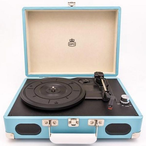 GPO Soho Vinyl Turntable + Built-in Speaker - Blue