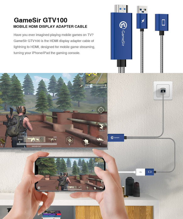 GameSir - GTV100 HDMI Display Adapter Cable 3 feet Plug and Play Cable, for iPhone / iPad