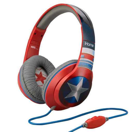 KIDdesigns - MARVEL Captain America Over-Ear Headphones with Built-in Microphone