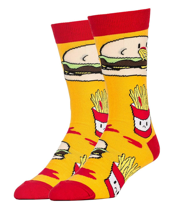 OoohYeah Socks - Mens Crew Hamburgers & French Fries