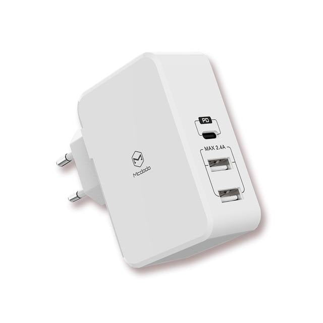 Mcdodo, Quick Charge Charger With PD, Dual USB Ports/Type-C, White