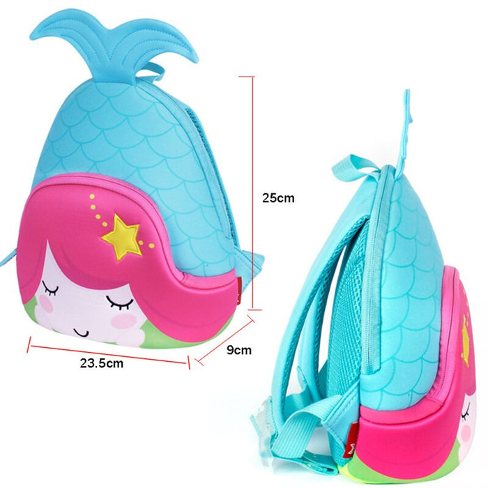 Nohoo - Mermaid 3D Water Resistance Kids Backpack - 2 to 5 Years - Blue