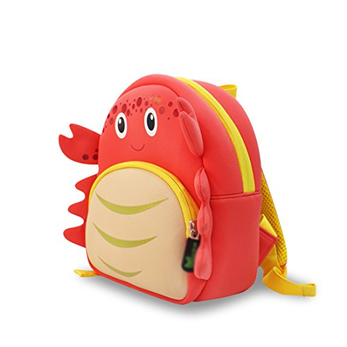 Nohoo - Crab 3D Water Resistance Kids Backpack - 3 to 6 Years - Red
