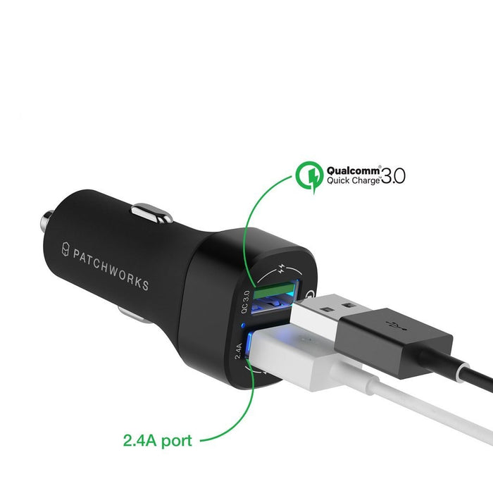 Patchworks - Qualcomm 3.0 & 2.4 Dual Fast Charger - Cigar jack (Car) - Matte Black