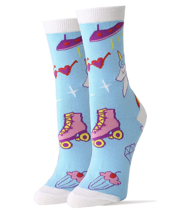 OoohYeah Socks - Womens Crew Cute Unicorn, Skates & Cupcakes