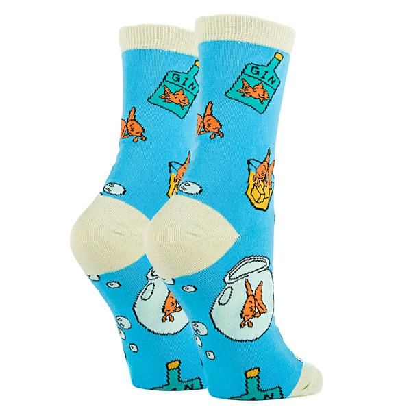 OoohYeah Socks - Womens Crew Fish in a Bowl