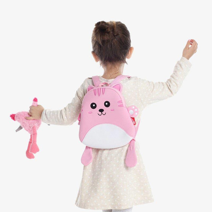 Nohoo - Mini Cat 3D Water Resistance Kids Backpack - 1 to 4 Years - Pink
