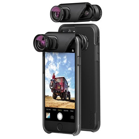 Olloclip 3-In-1 & Ollocase For Iphone 8 / 7 / 7 Plus (W/ 2 Cases) - Lens: Black/Clear Case (2037388378169)