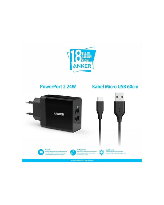 Anker - 2-Port Usb Charger with 3ft Micro-Usb Cable - Black