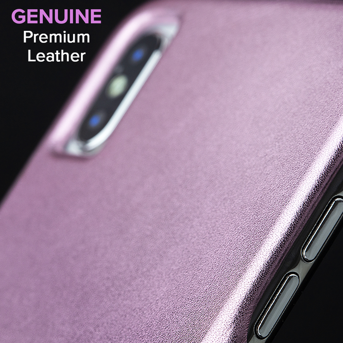 Case-Mate - iPhone X/XS Barely There Leather - Metallic Blush