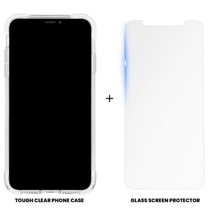 Case-Mate   - iPhone 11 Pro Max Case & Screen Protector - Protection Pack - Tough Clear Case + Glass Screen Protector - Clear