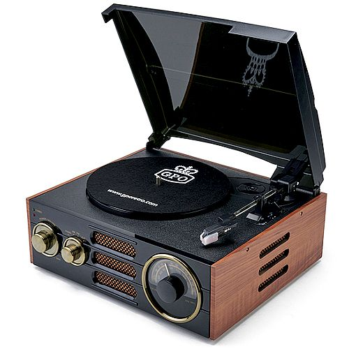Gpo Empire, Record Player Classic Stylish Turntable, Brown