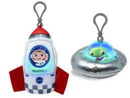 "Cuddle Barn - Blastoff SPACE ROCKET Buddies Squeezers 10"" - 2 Options Available"