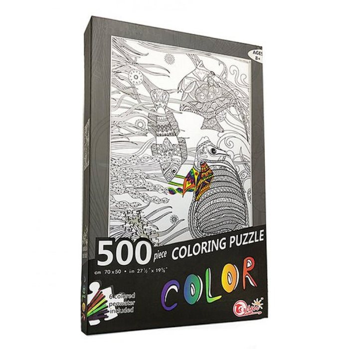 Coloring Puzzle   - Fish Puzzle with Coloring Markers 500pcs
