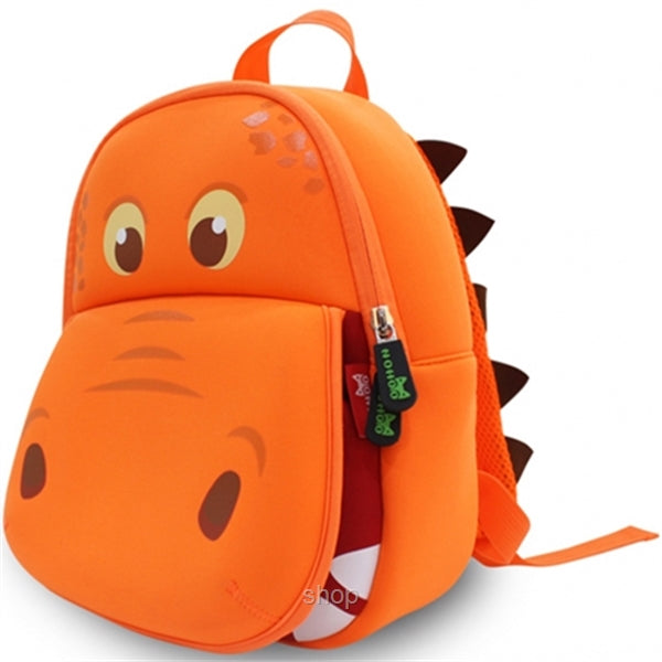 Nohoo - Hippo 3D Water Resistance Kids Backpack - 3 to 6 Years - Orange