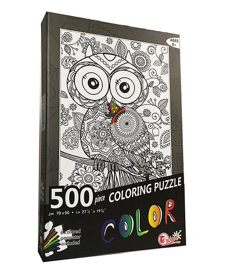 Coloring Puzzle   - Owl Puzzle with Coloring Markers 500pcs