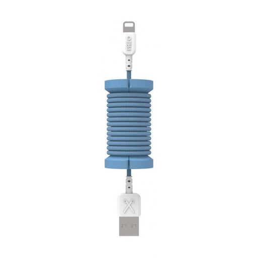 Philo, Rubber Cable Organizer With 1 M Long Nylon Braided, Blue