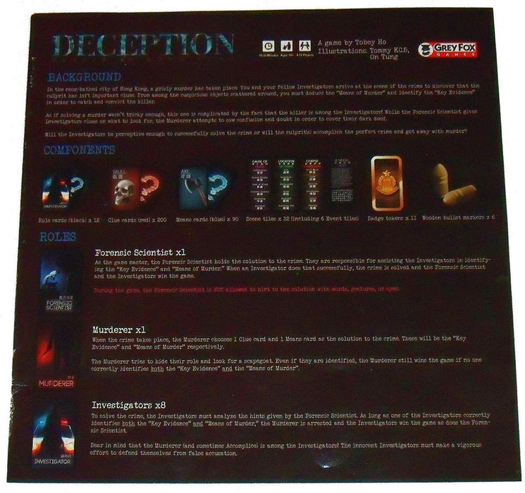 Deception   - Murder in Hong Kong Board Game