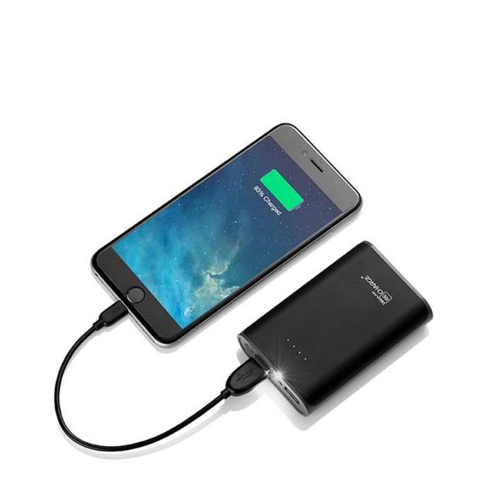 Recharge 7800 2.4A Pb Dual Usb With Torch - Black / Grey