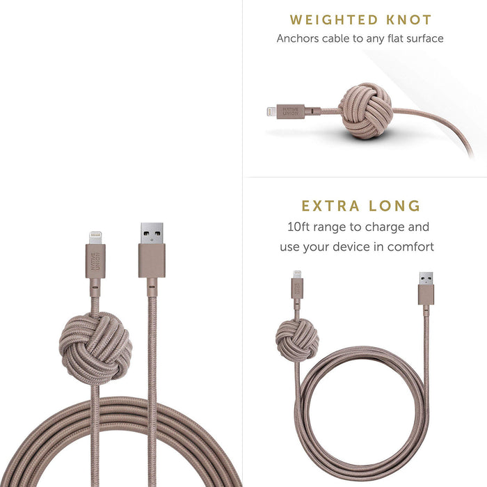 Native Union - Night 3M Cable - Lightning - Taupe