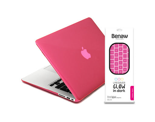 "Benaw - MacBook Pro 13"" Glow In Dark Bundle Hard case & Arabic Keyboard Cover - Phosphoric Pink"