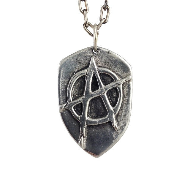 Custom Iconic Anarchy Symbol Pendant in Rock Star White Brass by Dax Savage Jewelry.