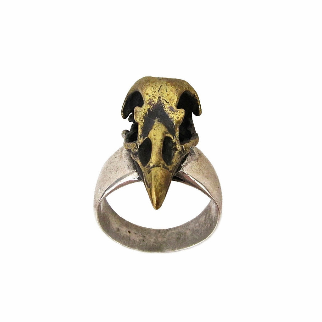 Custom Designer Bird Skull Ring in Rock Star Brass and Sterling Silver by Dax Savage Jewelry