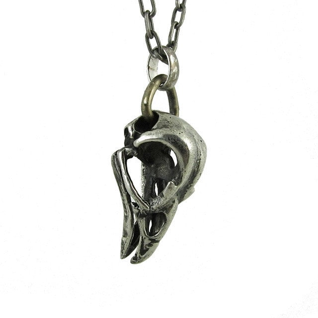 Custom Designer Bird Skull in Rock Star White Brass by Dax Savage Jewelry.