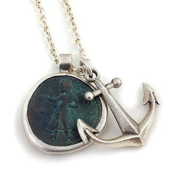 Custom One of a Kind Necklace with an Ancient Kushan Coin and Sterling Silver Anchor by Dax Savage Jewelry.