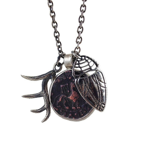 Zebu and the Lion - Ancient Coin with Antler and Scarab Necklace