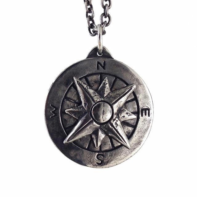 Custom Designer Compass Necklace in White Brass by Dax Savage Jewelry.
