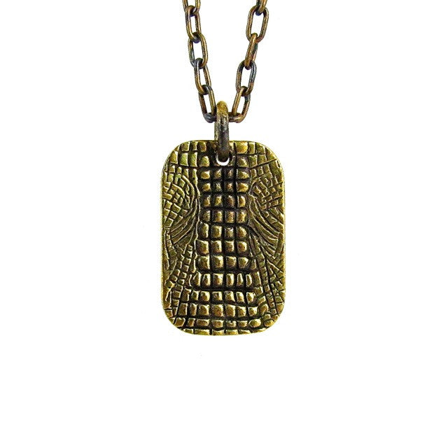 Custom Designer Crocodile Dog Tag in Rock Star Brass by Dax Savage Jewelry.
