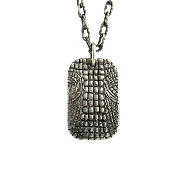 Custom Designer Crocodile Dog Tag in Rock Star Sterling Silver by Dax Savage Jewelry.