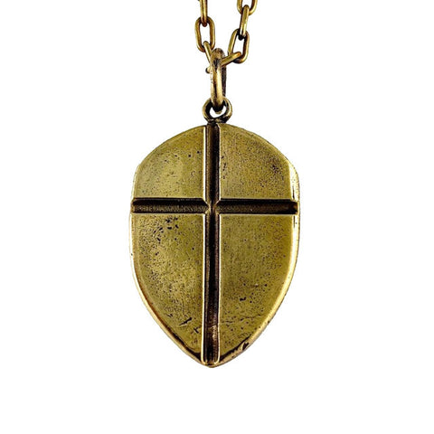 Shield with Cross - brass