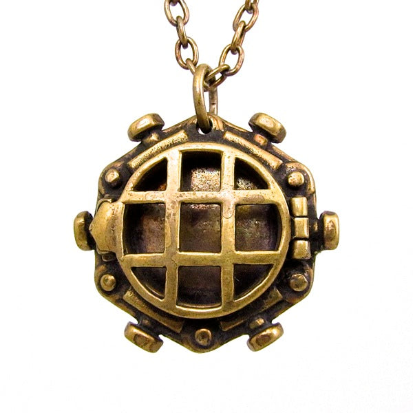 Custom Designer Diving Bell Locket in Rock Star Brass By Dax Savage Jewelry