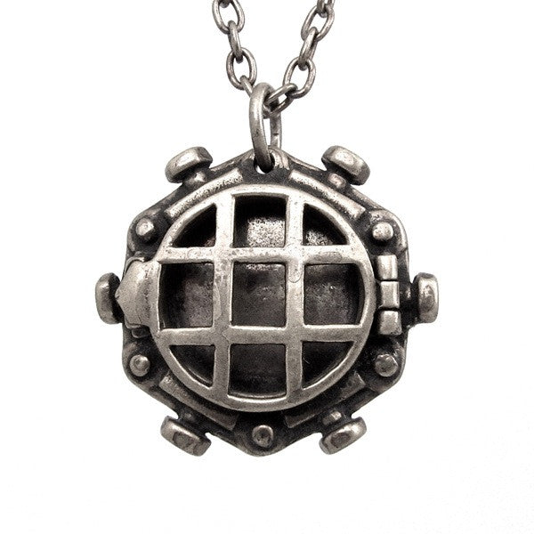 Custom Designer Diving Bell Locket in Rock White Brass By Dax Savage Jewelry