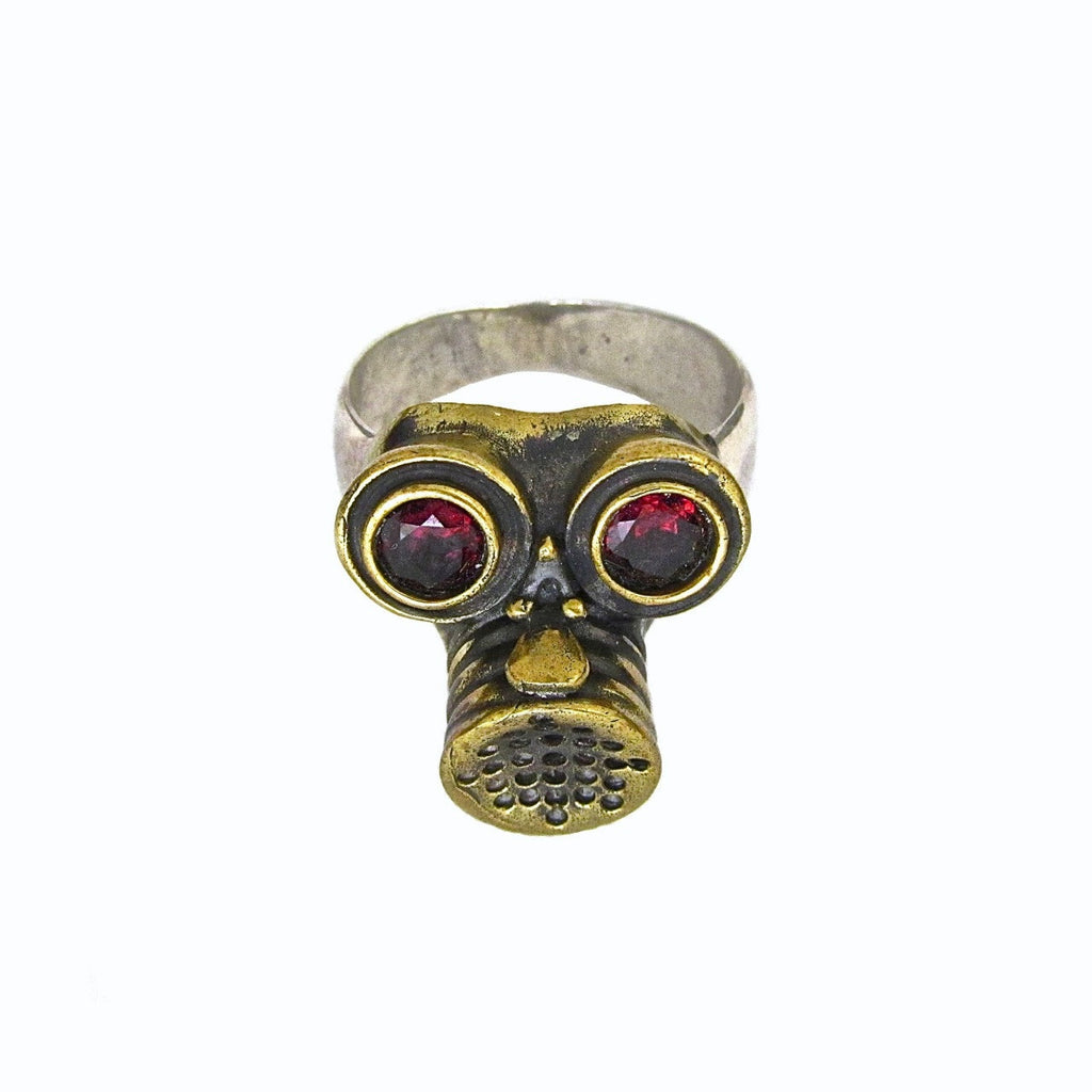 Custom Designer Gas Mask Ring with Garnets in Rock Star Brass and Sterling Silver Band by Dax Savage Jewelry
