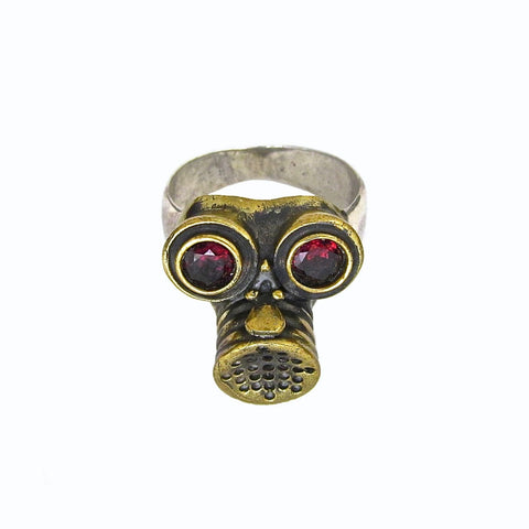 Gas Mask Ring with Garnet Eyes