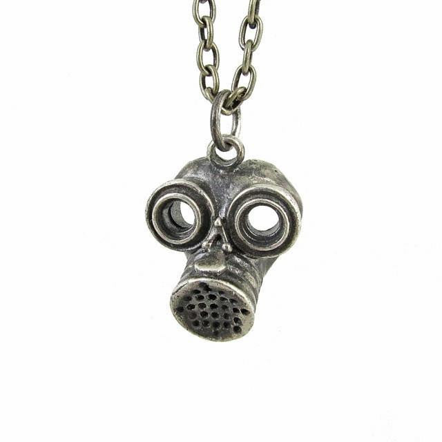 Custom Designer Gas Mask in Rock Star White Brass by Dax Savage Jewelry