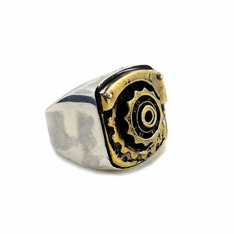 Gear Signet Ring - brass/silver